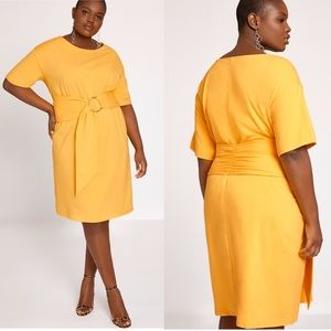 Eloquii Yellow Belted Boatneck Tee Dress NWT